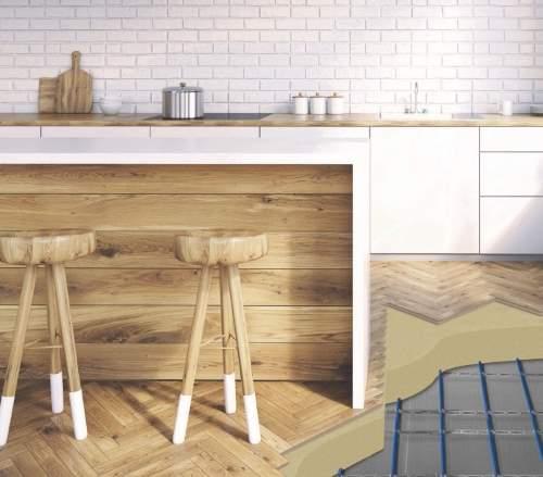 underfloor heating system in the kitchen