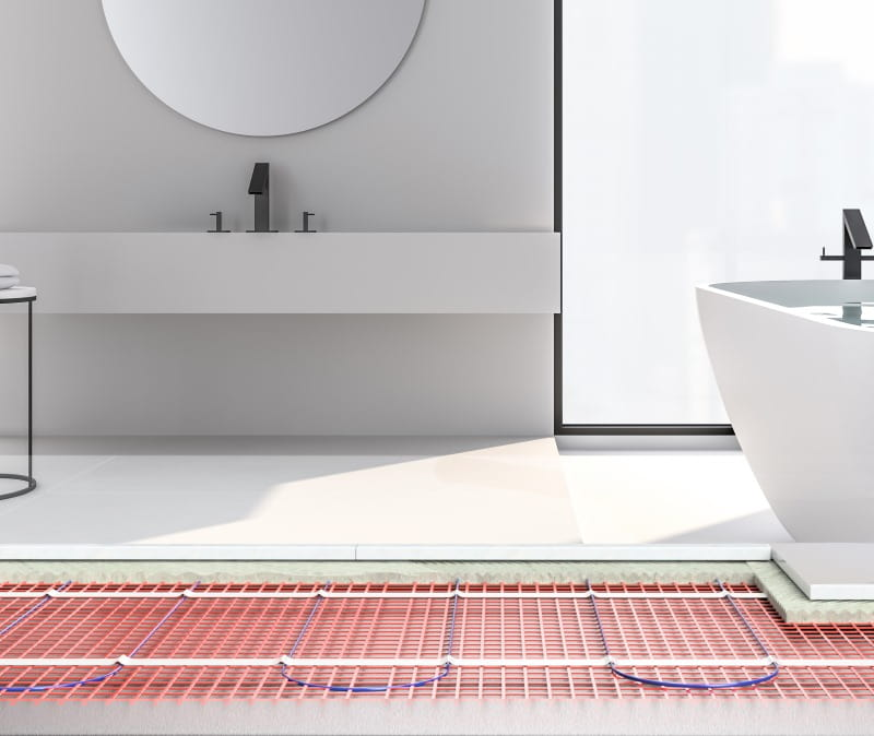 underfloor heating mat in a bathroom warmup