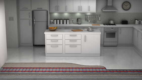 underfloor heating in the kitchen